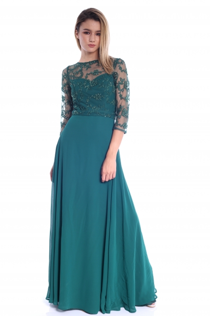 Rochie verde Roserry lunga din broderie si voal
