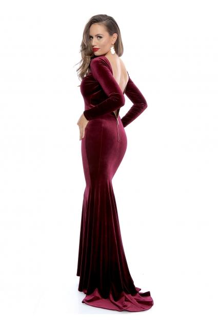 Rochie marsala Roserry lunga din catifea cu spate gol