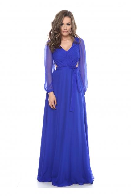 Rochie albastra Roserry lunga din matase naturala cu bust fronsat