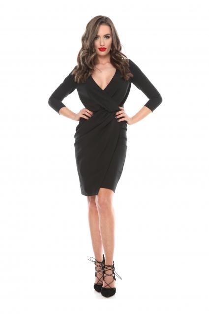 Rochie neagra Roserry petrecuta din stofa eleganta