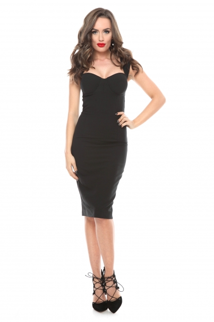 Rochie neagra Roserry midi cu bust corset din stofa eleganta