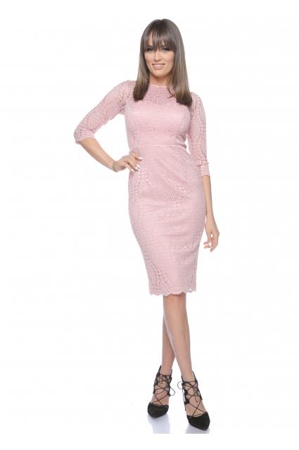Rochie roz Roserry midi din dantela