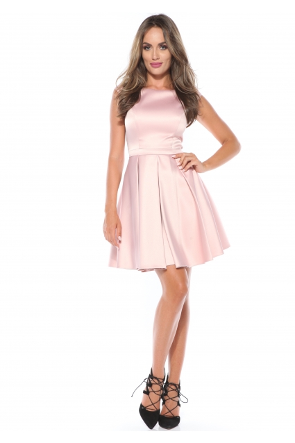 Rochie roz pastel Roserry clos din tafta