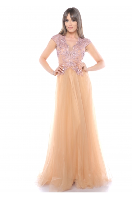 Rochie roz Roserry lunga din broderie si tulle
