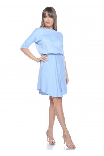 Rochie bleu Roserry clos din jerseu cu maneca fluture