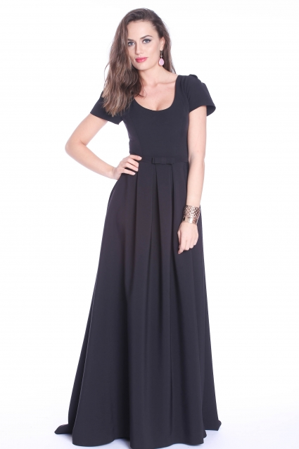 Rochie neagra Roserry lunga din stofa eleganta