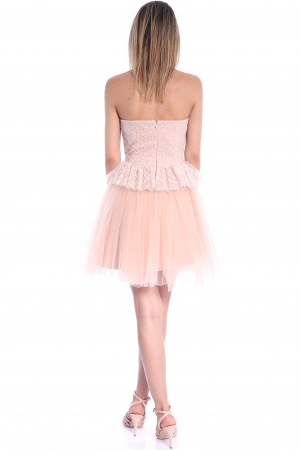 Rochie beige Roserry clos cu bust din broderie si tulle