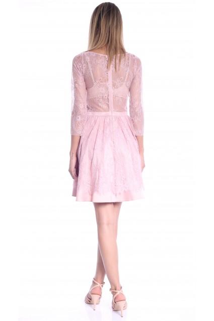 Rochie roz Roserry clos din dantela si tafta