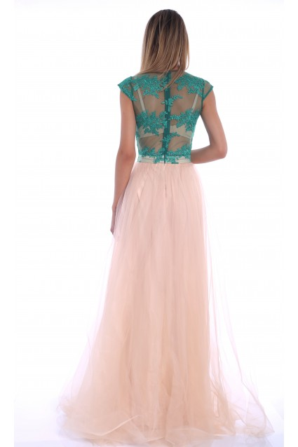 Rochie creme Roserry lunga din broderie verde si tulle