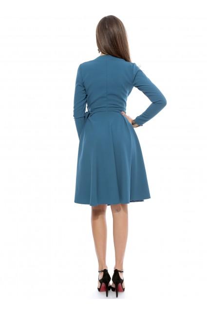 Rochie albastru Roserry petrecuta din stofa eleganta