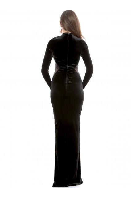 Rochie neagra Roserry lunga din catifea