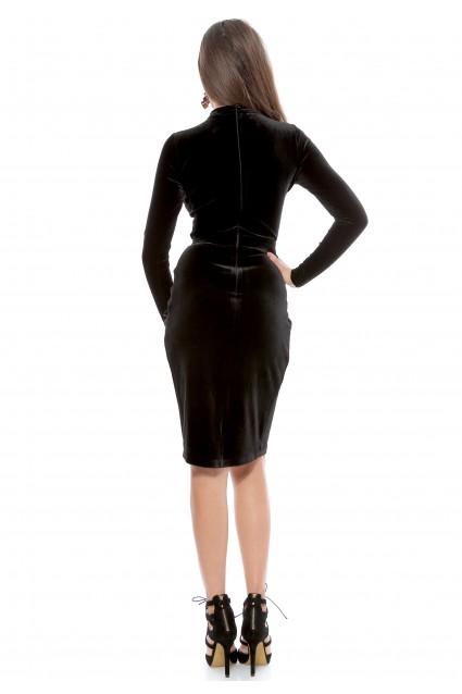 Rochie neagra Roserry petrecuta din catifea cu maneca lunga