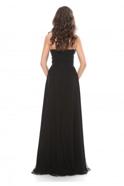 Rochie neagra Roserry lunga din matase naturala cu bust corset