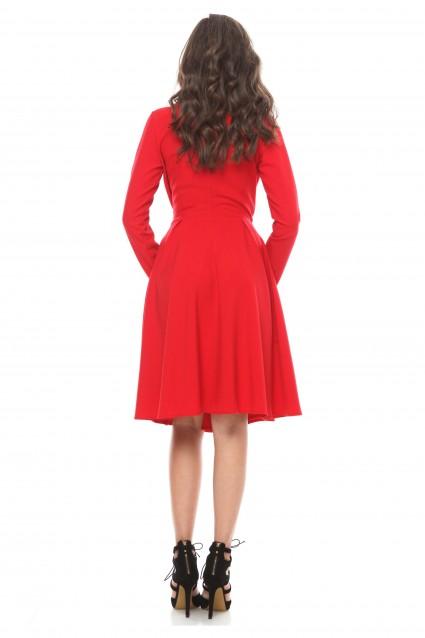 Rochie rosie Roserry petrecuta cu cordon din stofa eleganta
