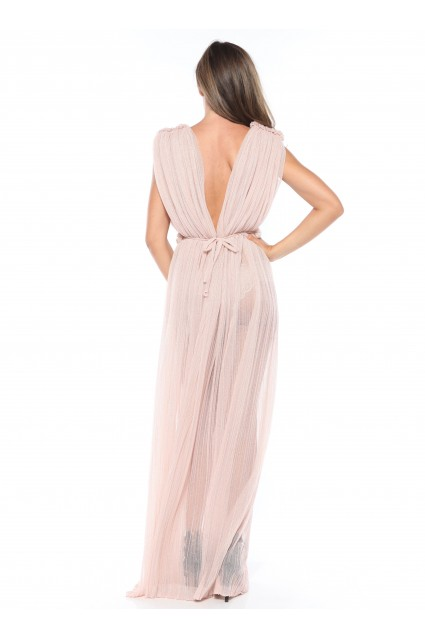 Rochie roz pastel Roserry lunga din tulle