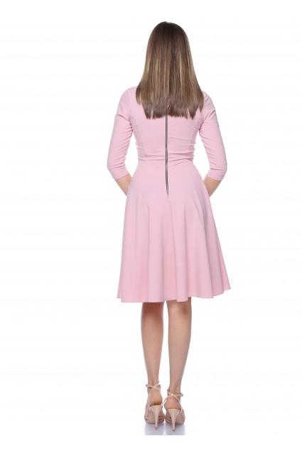 Rochie roz Roserry clos din stofa cu fermoar metalic pe spate
