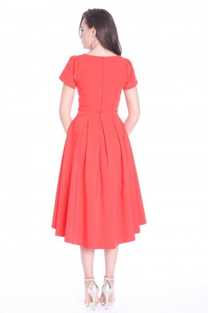 Rochie rosie Roserry asimetrica din stofa
