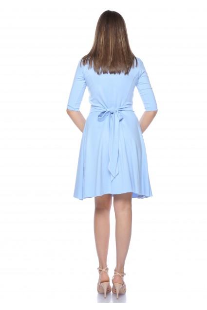 Rochie bleu Roserry clos din jerseu cu bust petrecut
