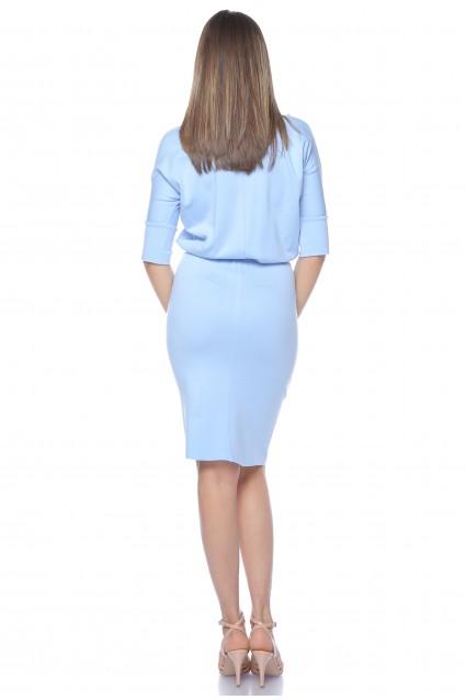 Rochie bleu Roserry midi din jerseu cu maneca fluture