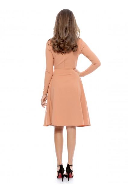 Rochie peach Roserry petrecuta din stofa eleganta