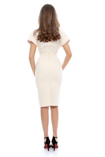 Rochie ivoire Roserry midi din stofa eleganta
