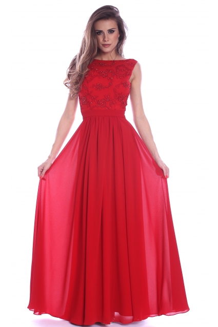 Rochie rosie Roserry lunga din broderie si voal