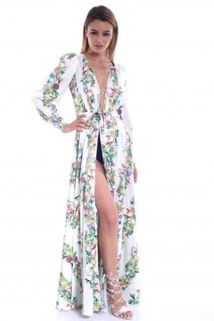 Rochie alba Roserry lunga cu imprimeu floral