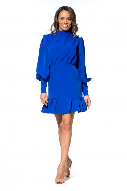 Rochie albastra Roserry scurta cu volan si maneci bufante