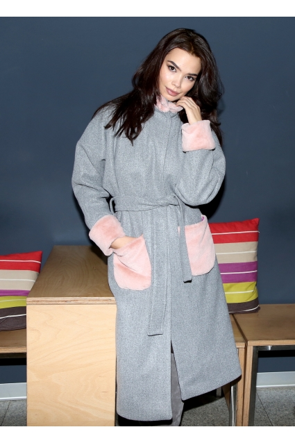 Palton gri Roserry oversize cu aplicatii din blana eco