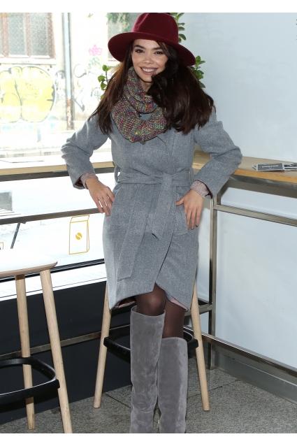 Palton elegant gri Roserry captusit