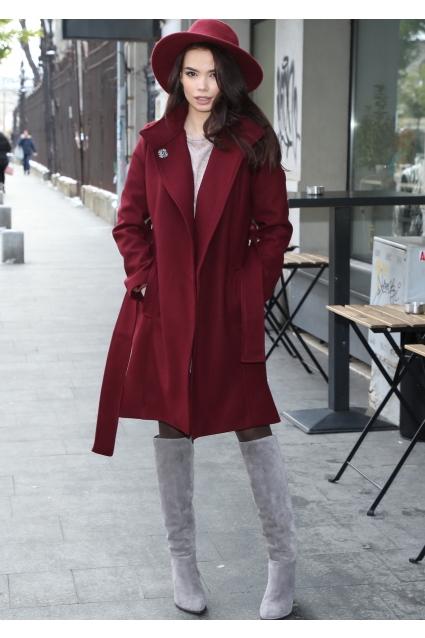 Palton elegant Roserry marsala captusit