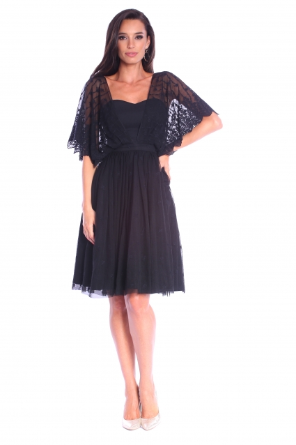Rochie neagra Roserry clos din tulle brodat
