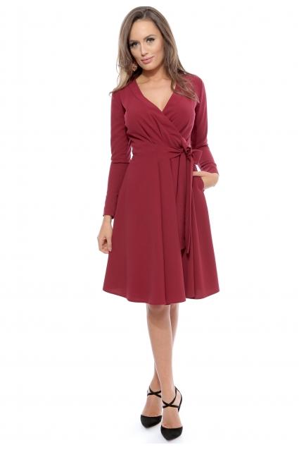 Rochie marsala Roserry petrecuta din stofa eleganta