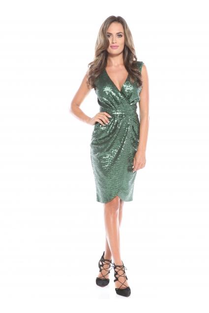 Rochie verde Roserry petrecuta din paiete fara maneca