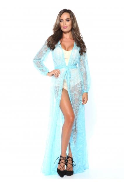 Rochie bleu Roserry lunga din dantela