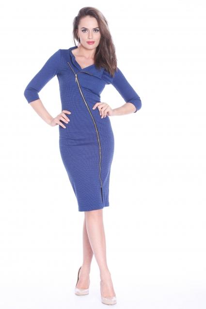 Rochie albastra Roserry cu fermoar