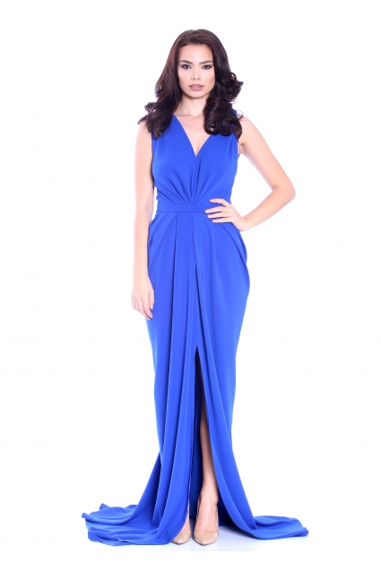 Rochie albastra Roserry lunga fronsata