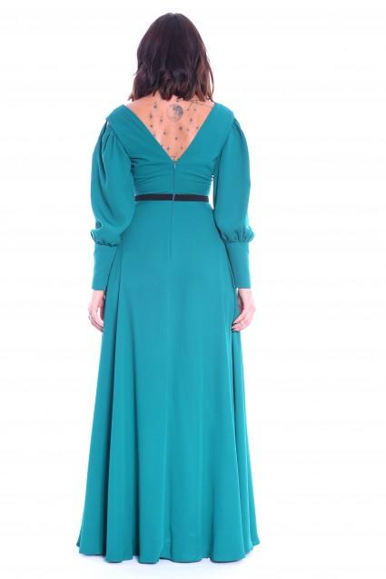 Rochie Roserry verde lunga cu bust fronsat si betelie neagra