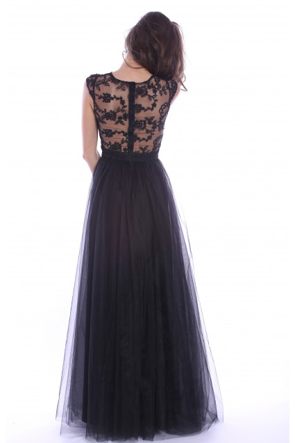 Rochie neagra Roserry lunga din broderie si tulle