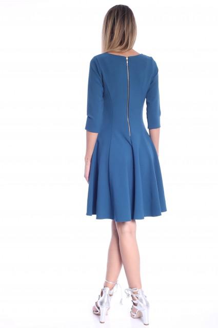 Rochie albastra Roserry clos cu fermoar pe spate