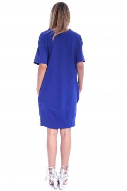 Rochie albastra Roserry din jerseu cu guler si buzunare