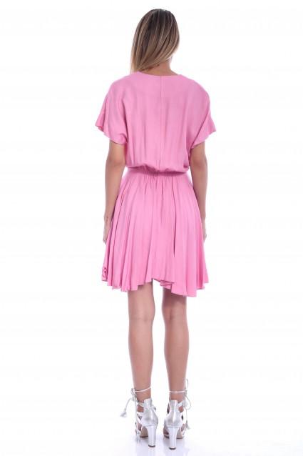 Rochie roz Roserry clos cu elastic in talie si buzunare
