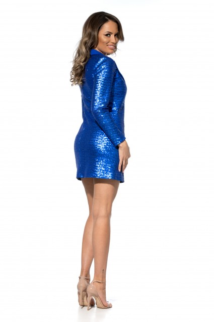 Rochie albastra Roserry stil sacou din paiete