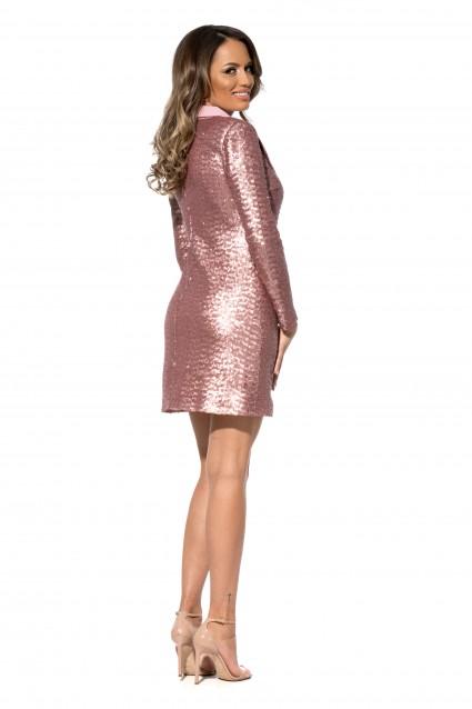 Rochie roz Roserry stil sacou din paiete