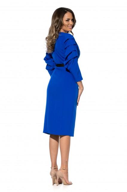 Rochie albastra Roserry midi petrecuta din stofa cu maneca incretita