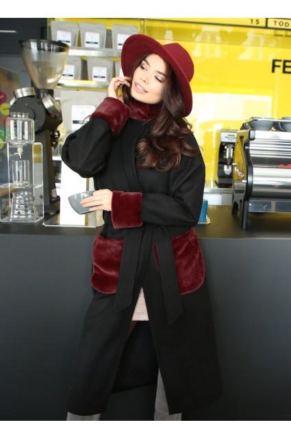 Palton negru Roserry oversize cu aplicatii din blana eco