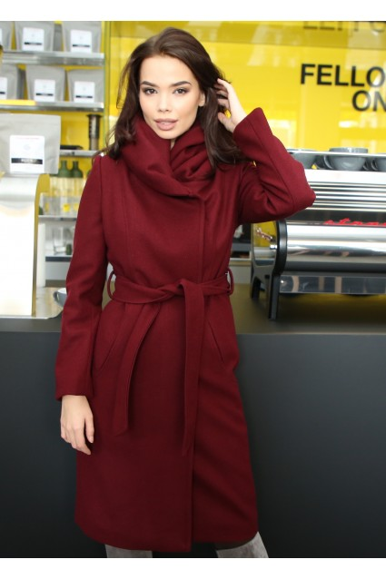Palton elegant Roserry marsala cu guler cu volum