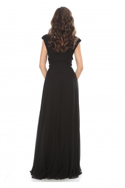Rochie neagra Roserry lunga din matase naturala cu bust petrecut