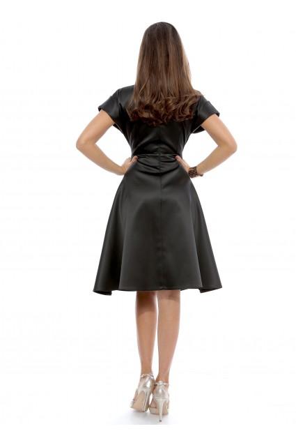 Rochie neagra Roserry din tafta satinata