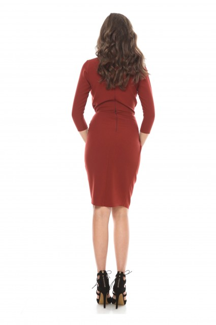 Rochie caramizie Roserry petrecuta din stofa eleganta